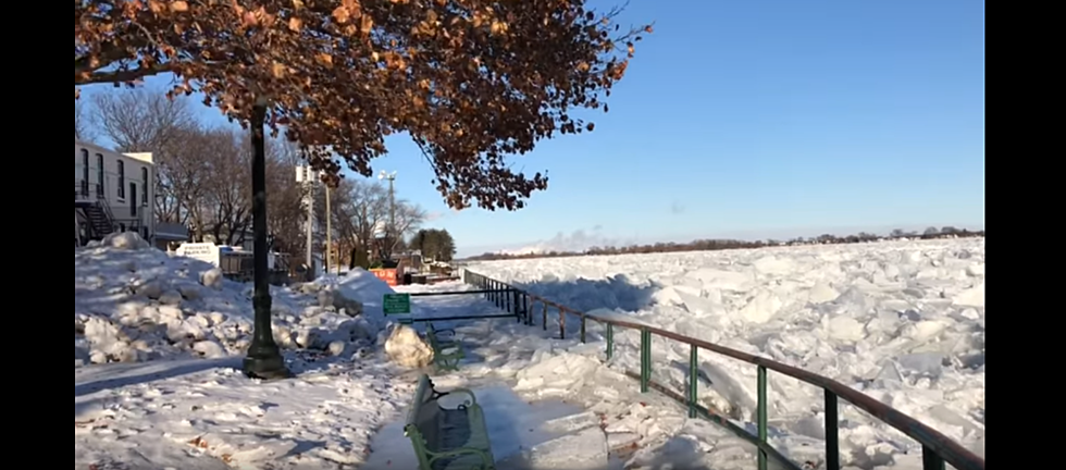 This Michigan River Is Completely Frozen and Clogged With Ice