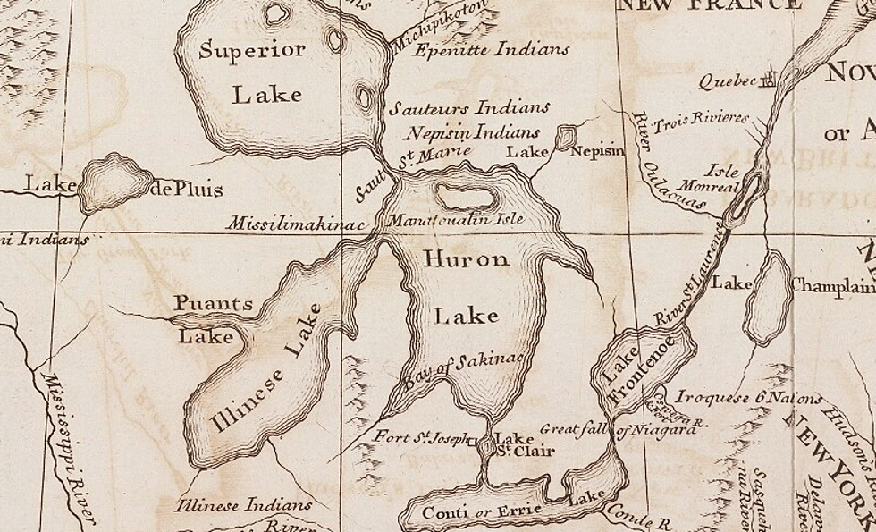 You'll Almost Recognize Michigan in this 1742 Map on rental agreement for michigan, weather for michigan, attractions for michigan, postal code for michigan, zip codes for michigan, climate for michigan, flag for michigan, travel brochure for michigan, time zone for michigan,