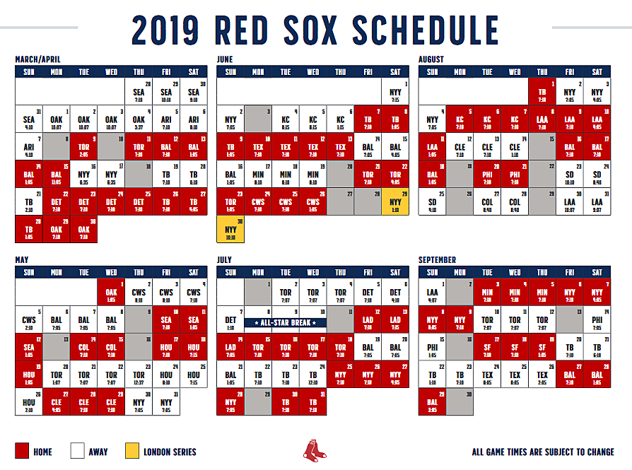 photograph about Boston Red Sox Printable Schedule named 2019 Boston Purple Sox Entire Period Plan