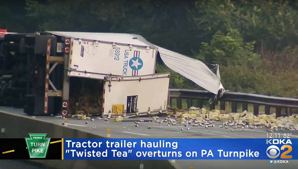Tractor Trailer Overturns On PA Turnpike, Spills Load of Twisted Tea