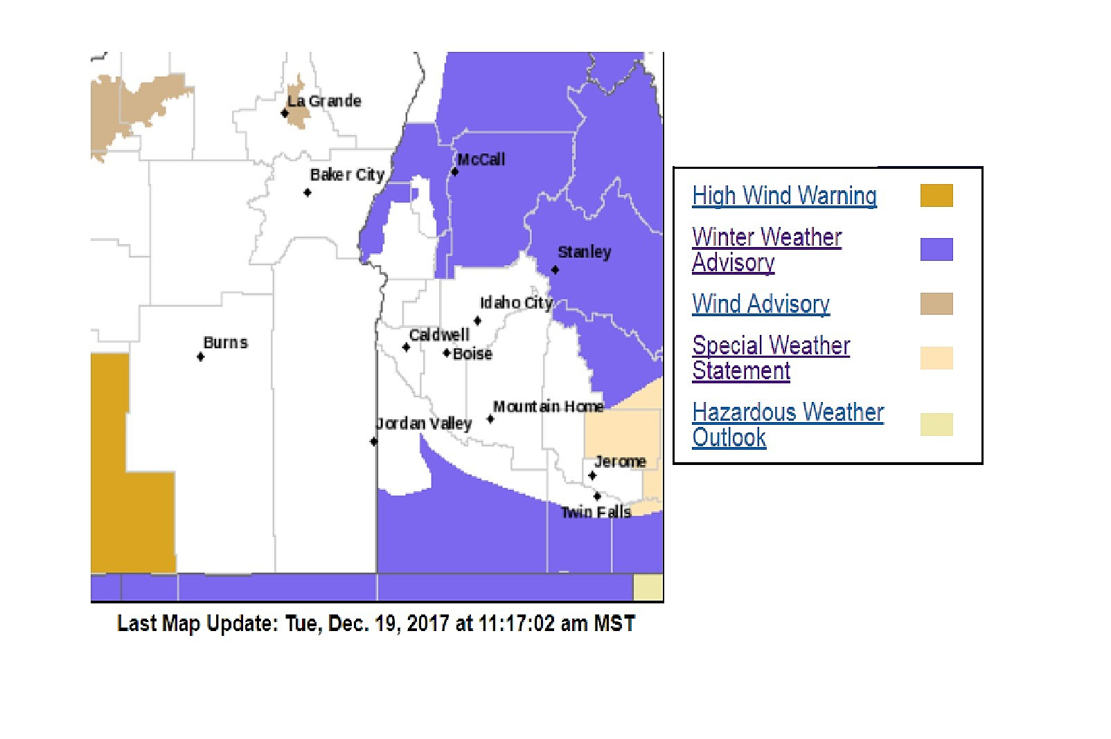 Winter Weather Advisory Issued for Southern Idaho