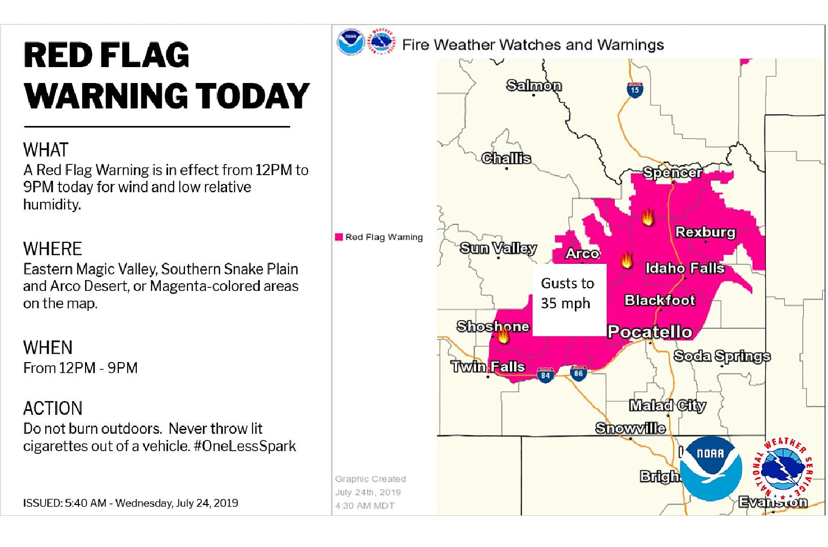 Red Flag Warning for Areas North of the Snake River