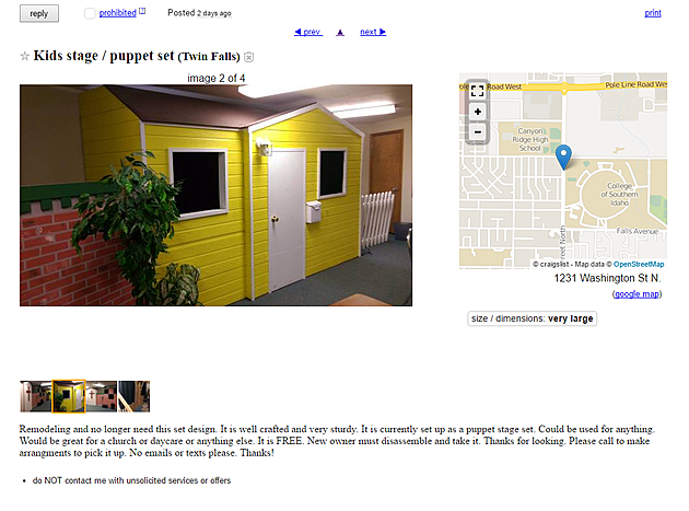 Craigslist Idaho Falls >> Oh Look It S A Free Puppet Stage On Twin Falls Craigslist