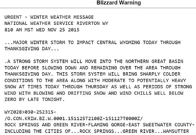 Wyoming Weather Warnings